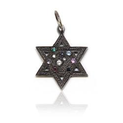 Oxidized SS Companion Star of David Charm