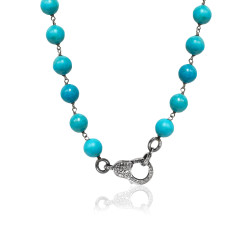 Oxidized SS & Diamond Lock on  Turquoise Beaded Chain