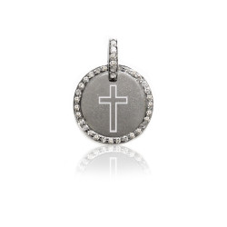 "Oxidized  1/2"" SS Disc w Diamond Border and Engraved Cross"