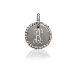 "Oxidized  1/2"" SS Disc w Diamond Border and Engraved Initial"