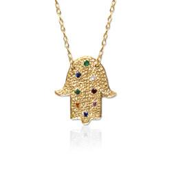 Hamsa Charm Gemstone Pendant