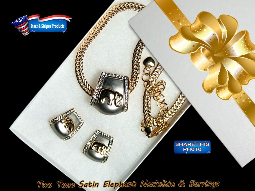 Two-tone Elephant Neckslide & Earrings