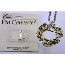 Quickly and easily converts pins and brooches for use as a pendant. Push pin through converter tube and close as usual, easily removes to convert back to pin.