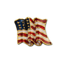 Goldplate and enamel American flag tie tack