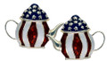 "Teapot earrings for the Tea Party patriot! Add some bling to your Tea Party with these enamel earrings with 13 stars. (Silverplate, size: 1""W x 0.75""H)"