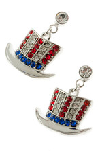 "American flag Uncle Sam shaped hat drop earrings in red, white and blue rhinestone crystals. Drop approx. 1.5"", post back, silverplate, lead free."