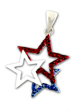 "This beautiful 3 star neckslide includes red and blue crystal stars with a center white enamel star. Silver-plate only. Size: approx 1.5""."
