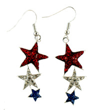 These elegant euro-wire drop earrings feature red white and blue crystal stars in silverplate.