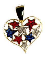 This neckslide features a collage of red, white and blue crystal stars embedded in the shape of a heart.