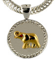 "Goldplate Elephant on a Satin Silver Coin surrounded by diamond like Swarovski crystals. Size: 1.25""."