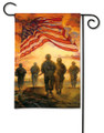 The AMERICAN HEROES garden flag is defined with the US flag and soldierS walking towards the battle.