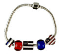 "A beautiful charm bracelet with 5 patriotic charms. The bracelet is 7.75"" in length and has 5 heavy charms consisting of red and blue circlular charms an american flag heart charm, red, white and blue enamel circluar charm, and a square flag charm."