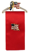 "Patriotic Hanger Pin with 4"" Red Ribbon for displaying your favorite Pin. (Flag pin not included). Hanger width: 2""."