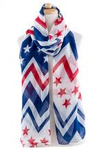 American Flag Long Chevron Scarf