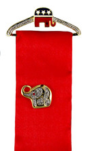 """Elephant Hanger Pin with 4"""" Red Ribbon for displaying your favorite Pin. (Elephant pin not included). Hanger width: 2""""."""