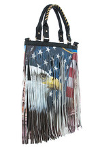 Make a statement with this American flag and eagle functional handbag made of textured faux leather featuring a fringe overlay.