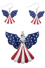Patriotic angel pendant with blue enamel wings and silver-plate stars with the skirt featuring red and white stripes has matching earrings.