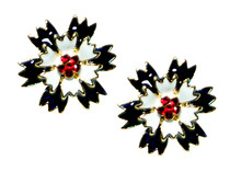 """Patriotic Carnation earrings in blue and white enamel with red Swarovski crystals in the center of the flower. Goldplate, post back, 0.75""""H x 0.75""""W."""
