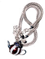 "A ""must have"" for all patriots! Modeled after a classic Paul Revere Tea Pot and is great for your next Tea Party!  Silver-plate pendant, enamel and diamond like Swarovski crystal stars (chain not included)."