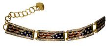 """Patriotic elegant 4 flag bracelet! Swarovski crystal, enamel, gold-plated. (Adjusts 6½"""" to 8"""")."""