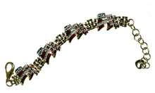 """Patriotic 4 flag bracelet! Swarovski crystal, enamel, gold-plated. (Adjusts 6½"""" to 8"""")."""