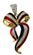 Gold-plate, enamel with Swarovski crystal ribbon pendant in the shape of a bow.