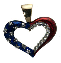 "Elegant heart with red and blue enamel and diamond-like Swarovski crystals. Size: 1""H x 1.5""W. Gold-plate."
