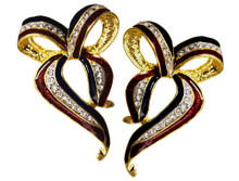 Support our troops! Gold-plate earrings in the shape of a bow, enamel with diamond like Swarovski crystal ribbon.