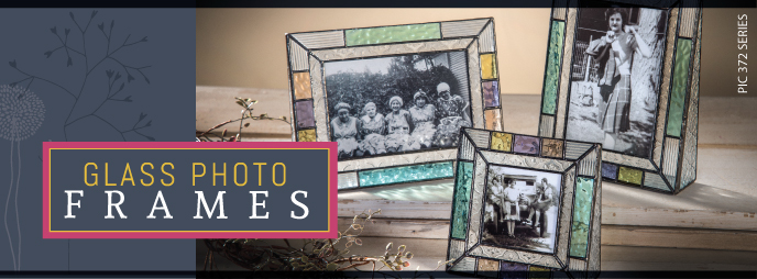 Glass picture frames by J. Devlin, makes a great gift, display photos with a vintage look, textured and stained glass.