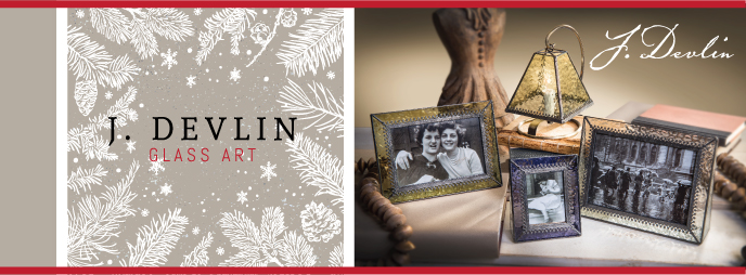 J. Devlin Glass Photo Frames, Glass Boxes, and Stained Glass Lamps make great Religious Gift Ideas