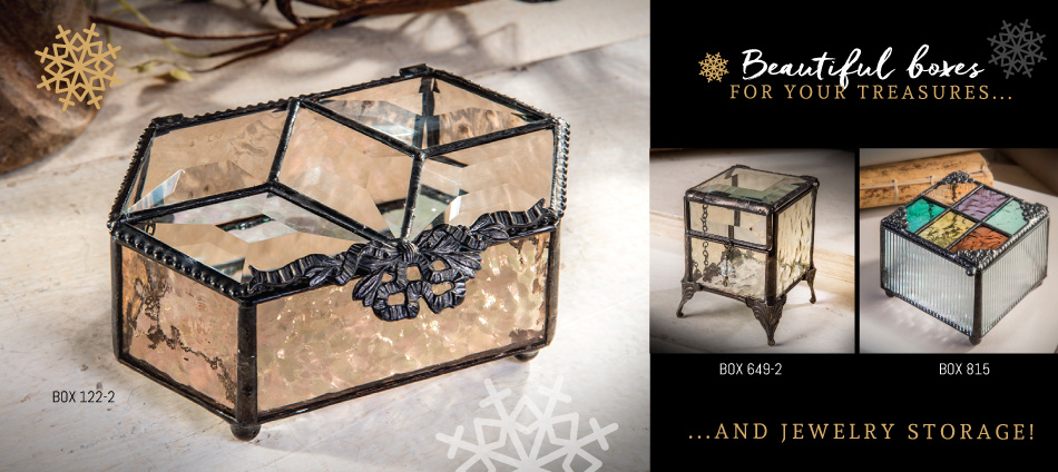 Glass Jewelry Boxes of all shapes and sizes make great gifts!