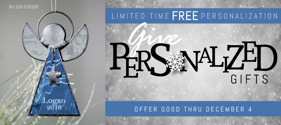 Free Personalization on glass picture frames and glass jewelry boxes!