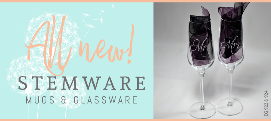 Personalized stemware, glassware and mugs by Uncharted Visions!