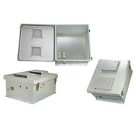 """Start with the Box...  The HW-N18-1V enclosure is a rugged, larger sized (18"""" x 16"""" x 8"""") weatherproof enclosure that is ideal for both indoor and outdoor applications. Constructed from molded fiberglass, it is well suited for high temperature or corrosive environments. The mounting flange allows it to be wall mounted as well as on a flat surface. The box can also be pole mounted with the optional pole mounting hardware kit. The fully gasketed lid features a stainless steel continuous hinge and stainless steel quick release latches with padlock hasps. The enclosure material is UV stabilized and comes in machine tool gray.  The HW-N18-1V is ideal for custom applications, which may require special modifications to the enclosure. Mounting stand-offs inside the enclosure can be used for mounting plates.  Mounting Plate  The aluminum mounting plate included with the HW-N18-1V has provisions to mount WLAN equipment. The enclosure also features holes for two N-Bulkhead Lightning Protectors or Connectors, a grounding lug and cable conduit connector.  Vented Enclosure  The HW-N18-1V features a vented lid with removable filters and vent covers on the outside of the enclosure.  Lightning Protection  Surge protection is provided as a standard feature on the internal AC outlets. In addition, the unit can accept up to two optional bulkhead-mount N-Type lightning protectors to protect the coaxial cable runs.    Molded Fiberglass Reinforced Polyester (FRP) industrial Enclosure Stainless steel quick release latches with padlock hasps NEMA Type 3R, 3RX / IP24 rated Fully gasketed raised Vented lid with removable filters & integral mounting flange Features aluminum mounting plate with surge protected duplex 120 VAC Outlets"""