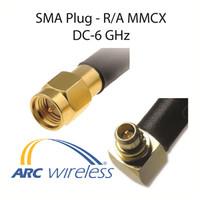 "ARC-CJ1054S01 Pigtail, 10"" ARC100, R/A MMCX/SMA Plug"