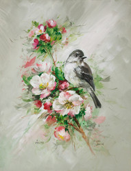 Flycatcher and Blossoms- Artist Proof