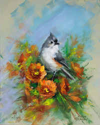 Titmouse and Blossoms-Torchon fine art paper