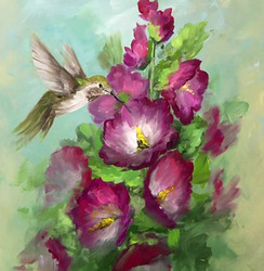 Hummingbird and Hollyhocks (Download Only)
