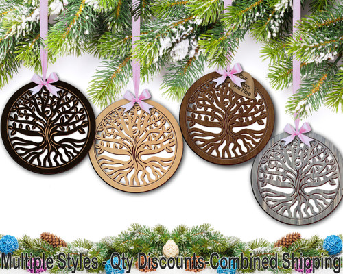 Tree of Life (T02) Hardwood Ornament w/ Metallic Leaf