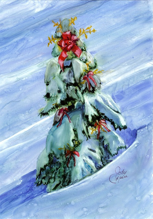 """Pack of ten Christmas Cards with white envelopes. Card reads: """"Wishing you Peace, Joy and Serenity this holiday season."""" © Rainbow Card Company"""