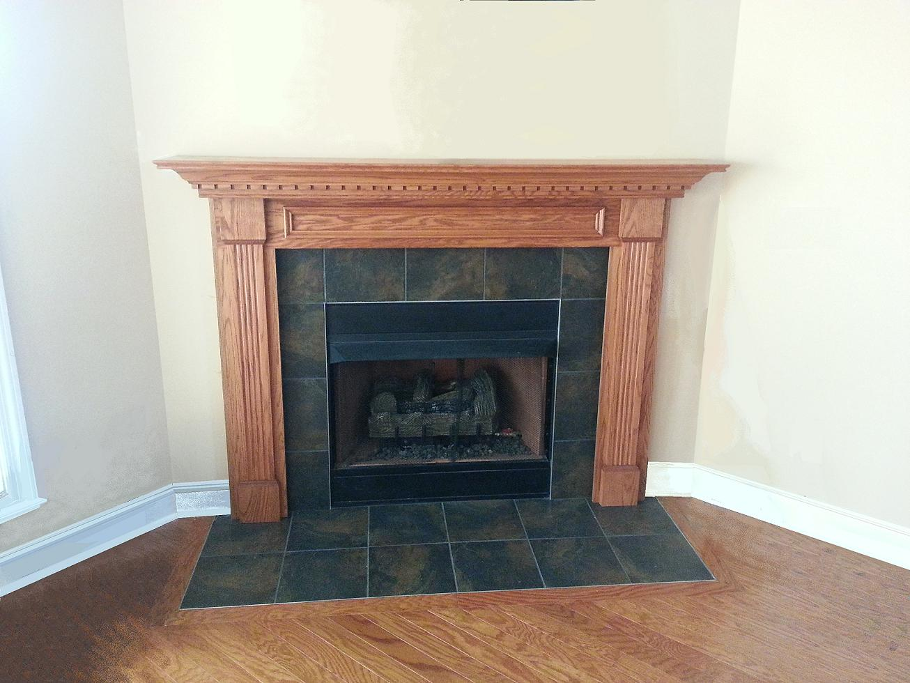 Fireplace Mantel installed by consumer | DIY Fireplace Makeover