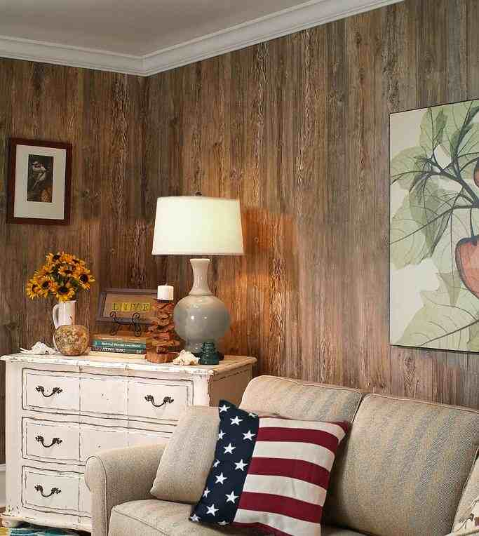 Weathered Cedar Paneling Corner Perspective Flag Pillow 1.
