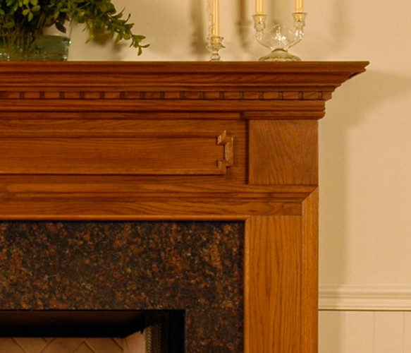 Attention-grabbing crown molding across the header of the mantel.