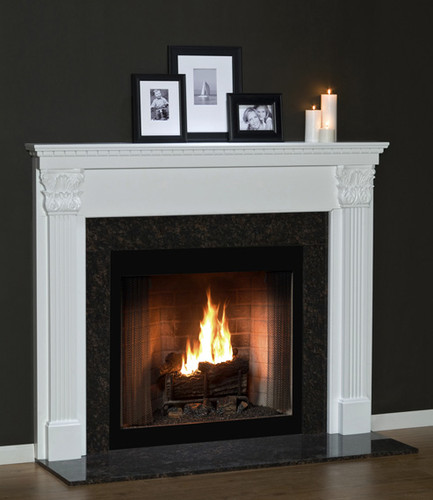 The carefully crafted Olympic fireplace mantel has eye-catching details that will lighten up any room.