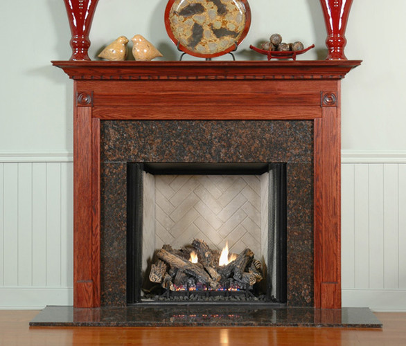 Available in different wood types and colors, the Gardendale custom fireplace mantel is preferred in wood mantel collection.