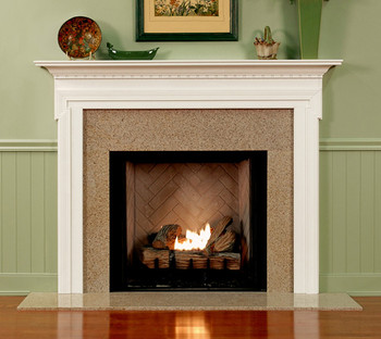 Custom made fireplace mantel with a detailed layered design that will compliment any room