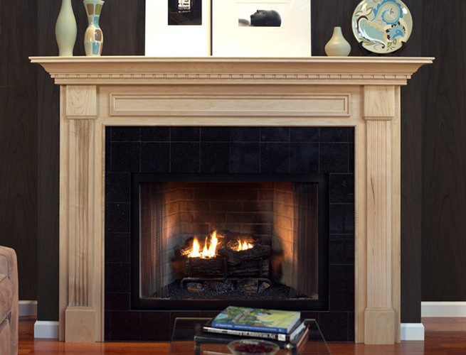 Wood Fireplace Mantel Surround Part - 26: The Crown Molding Across The Header Leads To The Stand-out Legs That Extend  To