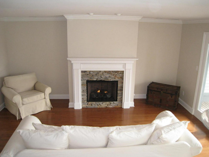 Wood Fireplace Mantel Surround Part - 22: Lewisburg Mantel With Stacked Stone Surround