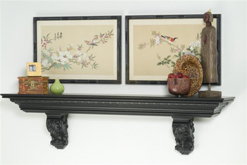 The Ardmore Mantel Shelf features egg and dart crown molding and acanthus leaf corbels.