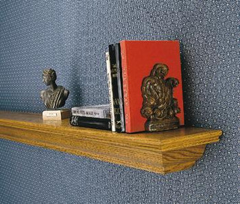 Brown mantel shelf.